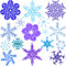 Stock Image : Various forms, sizes and colors of snowflakes