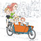 Stock Image : Vector beautiful girl carries child on the bike in Amsterdam