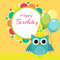 Stock Image : Vector birthday party card with owl