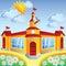 Stock Image : Vector cartoon school  building
