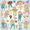 Vector cartoon sport players, doodle character