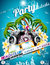 Stock Image : Vector Disco Party Flyer Design with speakers and sunglasses on blue background