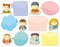 Stock Image : Cute Personages With Speech Bubbles