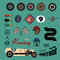 Stock Image : Vector icons of vintage car racing