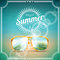 Stock Image : Vector illustration on a summer holiday theme with sunglasses.