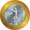 Vector Italian money gold coin one euro (Vitruvian