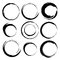 Stock Image : Vector set of grunge circle brush strokes. Set 4
