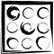 Stock Image : Vector set of grunge circle brush strokes. Set 2