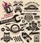 Stock Image : Vector set of vintage car symbols and logos