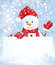 Stock Image : Vector snowman hiding by blank on snowfall background.