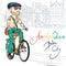 Stock Image : Vector trendy hipster bearded guy on a bike
