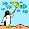 Stock Image :  Vector van Pinguïn die vissen achtervolgt