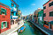 Stock Image : Venice, Burano island - Coloured houses and canal