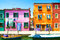 Stock Image : Venice landmark, Burano island canal, colorful houses and boat,