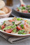 Stock Image : Very tasty Arabic salad (Fattoush) served in bambo
