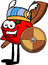 Stock Image : Viking tomato with a club and shield