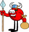 Stock Image : Viking tomato with spear and sack
