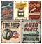 Stock Image : Vintage car metal signs and posters