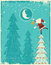 Stock Image : Vintage christmas card with Santa and nice moon.Ve