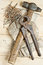 Stock Image : Vintage hammer with nails on wood background