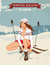 Vintage pin-up girl with skis poster