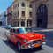 Stock Image : Vintage Red Taxi Car, Havana, Cuba