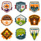 Stock Image : Vintage summer camp and outdoor badges