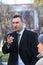 Vitali Klitschko tallking to journalist after vote in Kiev, Ukraine
