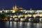 Stock Image : Vltava river, Charles Bridge and St. Vitus Cathedral at night