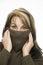 Stock Image : Vrouw met bruine sweater