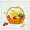 Stock Image :  Vruchten en groente in mand voor Dankzegging