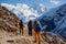 Stock Image :  Wandeling in de bergen van Himalayagebergte