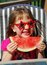 Stock Image : Watermlon girl
