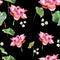 Stock Image :  Waterverfillustratie het schilderen van doorbladert en lotusbloem, naadloos patroon