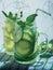 Stock Image :  Wczesny poranek świeża domowej roboty lemoniada w dwa kamieniarzów słojach z słoma