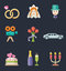 Stock Image : Wedding color icon set