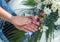 Stock Image : Wedding couple showing rings