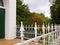 Stock Image : White Pointed Iron Fence