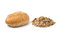 Stock Image : Whole wheat bread and muesli  on white background