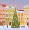 Stock Image : Winter city with christmas tree