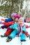 Winter fun, happy children sledding at winter time