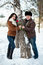 Stock Image : winter walk of man and girl