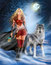 Stock Image : Winter Warrior Princess and  wolf