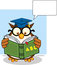 Stock Image : Wise Owl Teacher Cartoon Mascot Character Reading A ABC Book And Speech Bubble