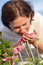 Stock Image : Woman in coneflower field