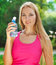 Stock Image : Woman drinking water after fitness exercise