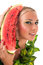 Stock Image : Woman face with watermelon