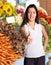 Stock Image : Woman gives thumbs up at Farmers Market