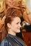 Stock Image : Woman hair teasing
