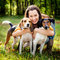 Stock Image : Woman and his dogs